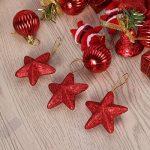 Deco Sapin de Noel Tinksky 28 Pieces Merry Christmas Étoiles Boules de Noël Cloches de Noël Père Noël Suspension Noel Rouge de la marque Tinksky image 3 produit