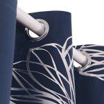 Deconovo Lot de 2 Rideau Occultant Imprimé Floral à Oeillets Isolant Thermique de Porte 140x245cm Bleu Marine de la marque Deconovo image 2 produit