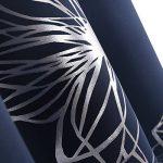 Deconovo Lot de 2 Rideau Occultant Imprimé Floral à Oeillets Isolant Thermique de Porte 140x245cm Bleu Marine de la marque Deconovo image 3 produit