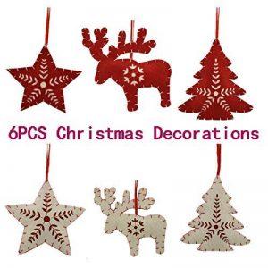 Décorations de Noël XingYu-XY Pendentif en sapin de Noël, Pendentifs cadeaux [6PCS] (13cm/5inch, Rouge + Blanc) de la marque XingYu-XY image 0 produit