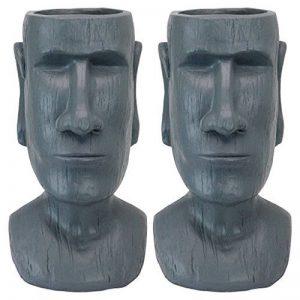 Design Toscano AL91917 Set de 2 Statue Jardinière Tête Moai Mégalithe Imposant de l'Île de Pâques, Pierre Grise, 22.86 x 24.13 x 45.72 cm de la marque Design Toscano image 0 produit