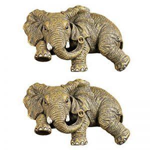 Design Toscano EU933738 Set de 2 Ernie l'Eléphant Statuette à Poser en Bordure d'Etagère, Bronze, 9 x 14 x 6.5 cm de la marque Design Toscano image 0 produit