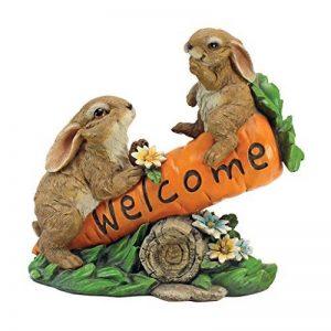 Design Toscano HF317387 Statue en signe de bienvenue de lapins regroupés Multicolore 11,5 x 26,5 x 24 cm de la marque Design Toscano image 0 produit