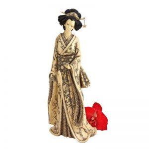 Design Toscano NY5101 Statue d'Okimono Geisha japonais Tenant un éventail Noir 12,5 x 15 x 37 cm de la marque Design Toscano image 0 produit