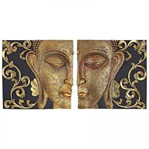 Design Toscano QS29068 Sculpture Murales Asiatique à Miroir Nirvana Double Bouddha, Deux Tons Noir Et Or, 5 x 26.5 x 26.5 cm de la marque Design Toscano image 0 produit