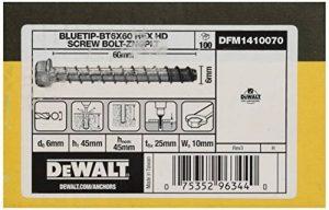 DEWALT DFM1410070 - Anclaje tipo tornillo de punta azul con cabeza hexagonal BT6x60 Screw Bolt-ZncPlt (Env. 100 Ud.) de la marque DeWalt image 0 produit
