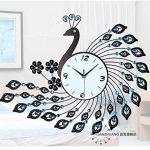 DHGY-Paon en fer forgé mur diamant tendance moderne jardin horloge (sans batterie)Cadeau de cadeau de Noël de vacances d'ami cadeau de la marque wpw-wall clock image 1 produit