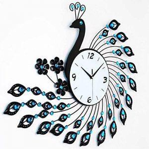 DHGY-Paon en fer forgé mur diamant tendance moderne jardin horloge (sans batterie)Cadeau de cadeau de Noël de vacances d'ami cadeau de la marque wpw-wall clock image 0 produit