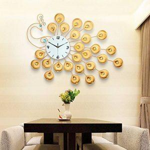 DHGY-Quartz murale horloge incrustée en fer forgé salon le processus créatif de paon d'alarmes (sans batterie) 90 * 60cmCadeau de cadeau de Noël de vacances d'ami cadeau de la marque wpw-wall clock image 0 produit