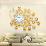 DHGY-Quartz murale horloge incrustée en fer forgé salon le processus créatif de paon d'alarmes (sans batterie) 90 * 60cmCadeau de cadeau de Noël de vacances d'ami cadeau de la marque wpw-wall clock image 2 produit