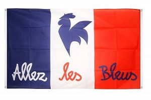 Digni Drapeau de balcon (avec 4 oeillets) supporteur France Allez les Bleus - 90 x 150 cm sticker gratuit de la marque Digni image 0 produit
