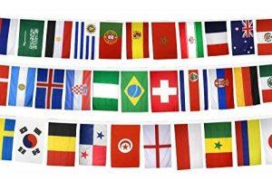 Digni Guirlande avec drapeaux de tous les participants CDM Football 2018 en Russie - 15 x 22 cm sticker gratuit de la marque Digni image 0 produit