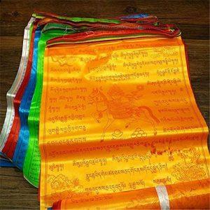 Dollbling bouddhiste tibétain drapeaux de prière 10écritures Haut de gamme en soie Vent Cheval Drapeau 6.8metres Corde de 20pcs/Port Cérémonial Ronda religieux Drapeau de la marque Dollbling image 0 produit