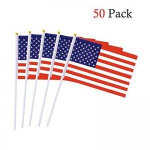 Drapeau américain Stick 5,5 x 8,3 pouces petit drapeau tenu à la main de 50 PCS Mini US Flag de la marque Hemore image 0 produit