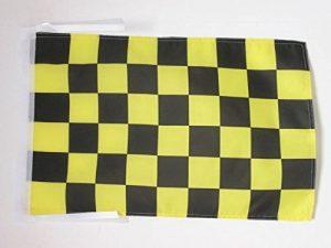 DRAPEAU DAMIER NOIR ET JAUNE OR AVALANCHES 45x30cm - PAVILLON À DAMIERS 30 x 45 cm haute qualité - AZ FLAG de la marque AZ FLAG image 0 produit
