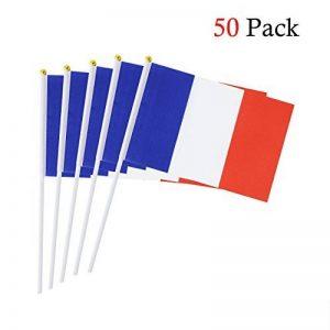 Drapeau de bâton de la France 5.5 x 8.3 pouces petit drapeau tenu dans la main de 50 PCS Mini drapeau français de la marque Hemore image 0 produit