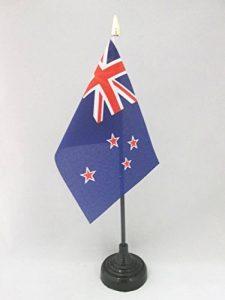 DRAPEAU DE TABLE NOUVELLE-ZÉLANDE 15x10cm - PETIT DRAPEAUX DE BUREAU NÉO-ZÉLANDAIS 10 x 15 cm pointe dorée - AZ FLAG de la marque AZ FLAG image 0 produit