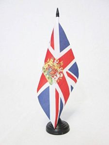 DRAPEAU DE TABLE ROYAUME-UNI AVEC ARMES 21x14cm - PETIT DRAPEAUX DE BUREAU ANGLAIS - UK - GRANDE BRETAGNE 14 x 21 cm - AZ FLAG de la marque AZ FLAG image 0 produit