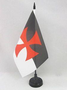 DRAPEAU DE TABLE TEMPLIERS BAUSSANT 21x14cm - PETIT DRAPEAUX DE BUREAU ORDRE DU TEMPLE BEAUCENT 14 x 21 cm - AZ FLAG de la marque AZ FLAG image 0 produit