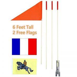 Drapeau/Fanion de sécurité pour remorque enfant de vélo - Haute visibilité - Mât en fibre de verre de 1,8m - Drapeaux orange, chevalier et national de la marque uelfbaby image 0 produit