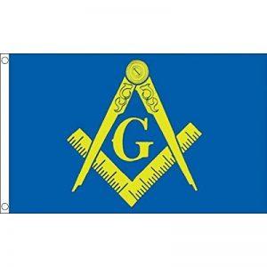 DRAPEAU FRANC-MAÇONNERIE BLEU ET JAUNE 150x90cm - DRAPEAU FRANC-MAÇON 90 x 150 cm - DRAPEAUX - AZ FLAG de la marque AZ FLAG image 0 produit