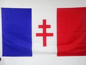 DRAPEAU FRANCE LIBRE 1940-1944 150x90cm - DRAPEAU FRANÇAIS DE LA RÉSISTANCE 90 x 150 cm Fourreau pour hampe - AZ FLAG de la marque AZ FLAG image 0 produit