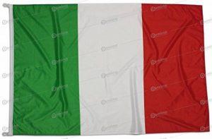 Drapeau Italie 150x100 cm en tissu nautique coupe-vent 115g/m², drapeau italien 150x100 professionnel lavable, drapeau 150x100 avec mousquetons, double couture périmétrique et bande de renfort de la marque Domina image 0 produit