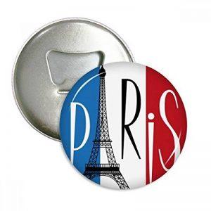 Drapeau national France Paris Tour Eiffel rond Décapsuleur Aimant de réfrigérateur broches badge Bouton Cadeau 3pcs de la marque DIYthinker image 0 produit