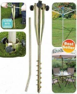 DWD (TM) Piquet robuste en plaqué zinc à visser pour fixation au sol, ultra résistant à la rouille, pour corde à linge rotative, parasol de jardin, mangeoires, tonnelles, drapeaux, etc. de la marque DWD image 0 produit