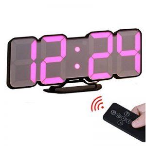 EAAGD 3D Réveil Digital Pendule Murale Télécommandé Sans Fil-115 Couleurs des Numéros sur LED Mode de Commande Vocale 3 luminosités à Régler Avec la Commande (Noir) de la marque EAAGD image 0 produit