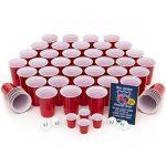 Evil Jared Hasselhoff EVIL JARED's College Cups | 50 gobelets rouge (480ml) + 4 balles de Ping Pong | Gobelets rouge | College Party Red Cups | Incl. 4 mini gobelets et règles de jeu de la marque Evil Jared Hasselhoff image 1 produit