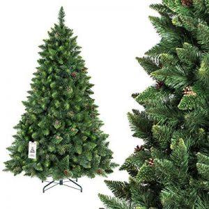 FAIRYTREES arbre sapin artificiel de Noêl PIN, naturel vert, matière PVC, pommes de pin vraies, socle en métal, 180cm, FT03-180 de la marque FairyTrees image 0 produit