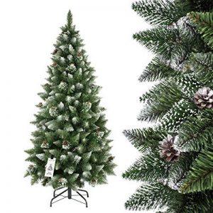 FAIRYTREES arbre sapin artificiel de Noêl SLIM, Pin naturel blanc enneigé, matière PVC, pommes de pin vraies, socle en métal, 180cm, FT09-180 de la marque FairyTrees image 0 produit