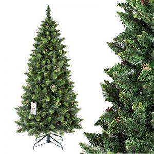 FAIRYTREES arbre sapin artificiel de Noêl SLIM, Pin naturel vert, matière PVC, pommes de pin vraies, socle en métal, 180cm, FT08-180 de la marque FairyTrees image 0 produit