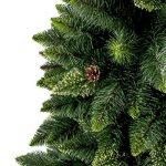 FAIRYTREES arbre sapin artificiel de Noêl SLIM, Pin naturel vert, matière PVC, pommes de pin vraies, socle en métal, 180cm, FT08-180 de la marque FairyTrees image 1 produit