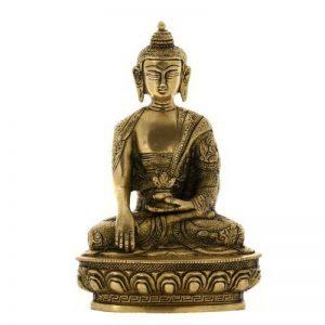 Fait à la main assis Bouddha Statue Sculpture indienne Métal Sculpture spirituel cadeaux de la marque ShalinIndia image 0 produit
