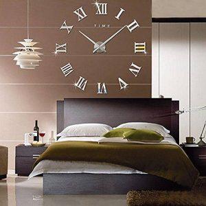FAS1 Moderne DIY Grand Pendule Murale Chiffres Romains Big Montre Stickers 3D Horloge Montre Murale Home Office Décoration Amovible (Batterie Non Inclus) Argent de la marque FAS1 image 0 produit