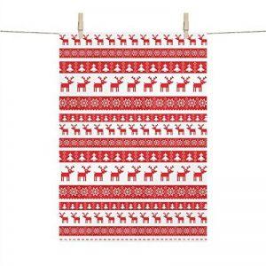 Festive rustique Rouge et blanc Renne nordique/Flocon de neige/sapin de Noël de cuisine Torchon 100% coton de la marque PPD image 0 produit