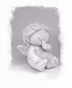 Figurine ange original Erzgebirge Volkskunst Figurine d'ange avec un cœur de protection en pierre bleu beige 15cm de haut, statuette décorative Ange Ange Enfant, beschützer très personnel de la marque Tempelwelt image 0 produit
