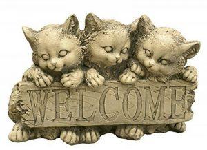 Figurine décorative Welcome chat en pierre pour le jardin extérieur 34x 24cm. de la marque CATART image 0 produit