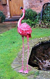Flamant rose en métal de 100cm - Décoration pour jardin, étang - Rose de la marque HOME HUT® image 0 produit