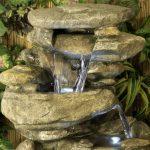 Fontaine d'Extérieur Cascade en Pierre Thornton - Lumières de la marque Primrose image 1 produit