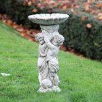 Fontaine de jardin pour oiseaux avec deux chérubins, pierre synthétique, ornement ange de la marque World Of Stone image 1 produit