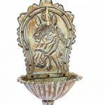 Fontaine murale de jardin avec vasque - fer - style antique - motif cheval - vert de la marque aubaho image 2 produit
