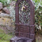 Fontaine murale sur pied - aluminium - style antique - motif fleur de lys marron de la marque aubaho image 1 produit
