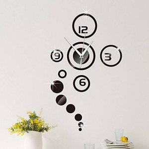 Forepin® DIY Muraux Horloge Murale Autocollants Bricolage Miroir Moderne 3D Industrielle Design pour Salon Chambre Bureau Office Maison Décoration Amovible Clock Sticker - Noir de la marque forepin image 0 produit