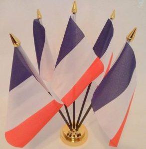 France Français Drapeau 5de bureau de table avec base or de la marque Flag Co image 0 produit