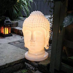 GardenKraft Polyrésine Tête de Bouddha éclairage LED solaire de jardin Ornement, crème de la marque GardenKraft image 0 produit