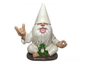 «George», le nain de jardin rocker avec grenouille zen. Ce nain de jardin allie le calme et la tranquillité au rock 'n roll pour votre jardin enchanté, par GlitZGlam de la marque GlitZGlam image 0 produit