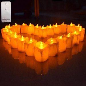 Giftgarden lot de 12 Lumières Bougies à LED avec télécommande, Sans Flamme, Effet fondu, réaliste et Bright, fausses Bougies électriques,décoration pour Votive, Anniversaire Mariage noel,meilleur cadeau, Jaune de la marque Giftgarden image 0 produit